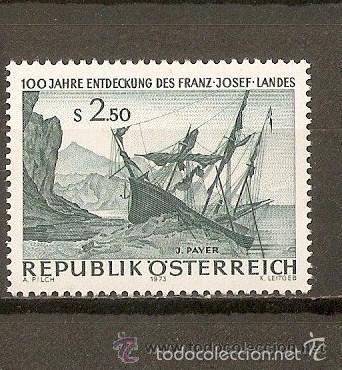 AUSTRIA 1973 IVERT 1250 *** 100º ANIVERSARIO DESCUBRIMIENTO DE FRANZ JOSEPH LANDA - PINTURA - BARCOS (Sellos - Extranjero - Europa - Austria)