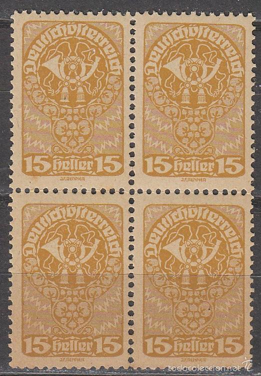 AUSTRIA IVERT 194, CUERNO DE CORREOS, NUEVO *** EN BLOQUE DE 4 (Sellos - Extranjero - Europa - Austria)