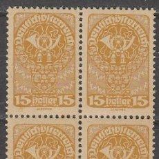 Sellos: AUSTRIA IVERT 194, CUERNO DE CORREOS, NUEVO *** EN BLOQUE DE 4. Lote 58485042