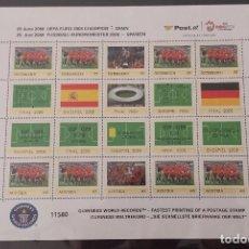 Sellos: UEFA EURO 2008 CHAMPION SPAIN - EL SELLO MÁS RÁPIDO DEL MUNDO (29,8 X 21 CM) MINT. Lote 66373154