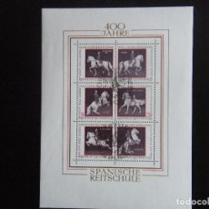 Sellos: AUSTRIA. HOJA BLOQUE CON MATASELLO. YVERT Nº 7. 1972. CABALLOS. Lote 71461351