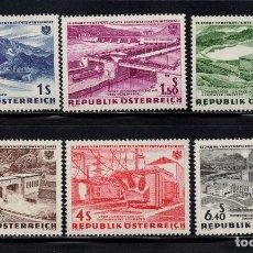 Sellos: AUSTRIA 942/47** - AÑO 1962 - 15º ANIVERSARIO DE LA NACIONALIZACION DE LA ELECTRICIDAD. Lote 259039085