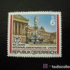 Sellos: AUSTRIA 1989 IVERT 1793 *** CENTENARIO DE LA UNIÓN INTERPARLAMENTARIA - PALACIO PARLAMENTO VIENA. Lote 100153807