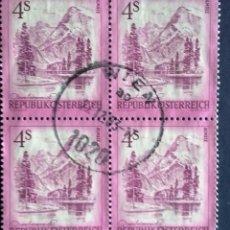 Sellos: AUSTRIA, USADOS, SELLOS EN BLOQUE DE 4 . Lote 104127703