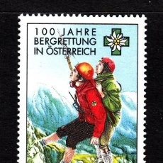 Sellos: AUSTRIA 1996 IVERT 2023 *** CENTENARIO DEL SERVICIO AUSTRIACO DE SOCORRO DE MONTAÑA. Lote 109525370