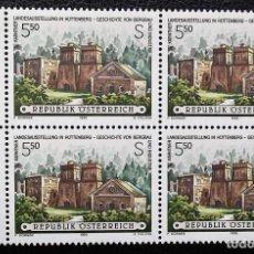 Timbres: AUSTRIA. 1982 ALTOS HORNOS DE LA ANTIGUA FÁBRICA SIDERÚRGICA DE HUTTENBERG, EN BLOQUE DE CUATRO. 199. Lote 113493511