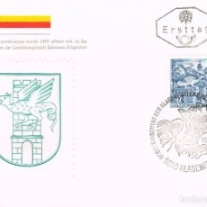 Sellos: AUSTRIA IVERT Nº 955 AB, FUENTE DEL DRAGÓN EN KLAGENFURT, PRIMER DIA DE 22-1-1968. Lote 135813230