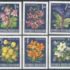 Sellos: AUSTRIA 1966 IVERT 1044/9 *** FLORA - FLORES DE LOS ALPES. Lote 140757610