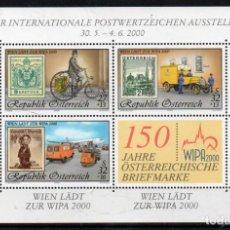 Sellos: AUSTRIA AÑO 2000 YV HB 18*** EXPOSICIÓN FILATELICA INTERNACIONAL WIPA 2000 - MEDIOS DE TRANSPORTE. Lote 142449538