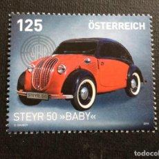 Sellos: AUSTRIA AÑO 2018. AUTOMOVIL STEYR 50 BABY. Lote 147406066