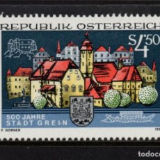 Sellos: AUSTRIA 1857** - AÑO 1991 - 5º CENTENARIO DE LA CIUDAD DE GREIN. Lote 150407202