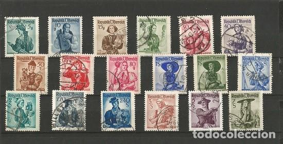 AUSTRIA DESDE 1948 - COLECCIÓN - 18 SELLOS DIFERENTES DE TRAJES REGIONALES - BÁSICO - USADOS (Sellos - Extranjero - Europa - Austria)