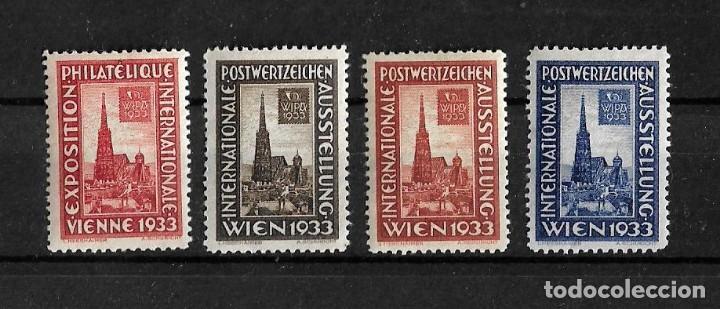 AUSTRIA 1933 LOTE DE 4 VIÑETAS DE LA EXHIBICION INTERNACIONAL FILATELICA (Sellos - Extranjero - Europa - Austria)