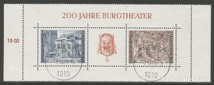 AUSTRIA - 200 ANIVERSARIO DE BURGTEATRO DE VIENNA - 1776 - 1976 - TIENE ADHESIVO ORIGINAL DETRÁS (Sellos - Extranjero - Europa - Austria)