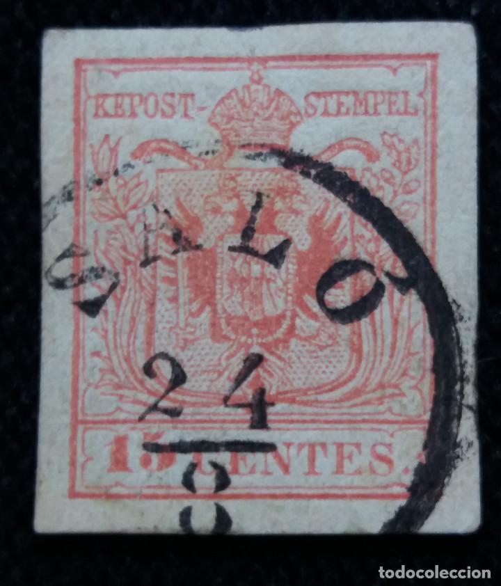 SELLO AUSTRIA, OSTERREICH, LOMBARDIA, VENECIA 15 CENTES 1850 (Sellos - Extranjero - Europa - Austria)