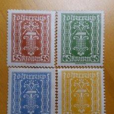 Sellos: AUSTRIA, OSTERREICH, 50-60-75-89, KRONENE AÑO 1922. NUEVOS. Lote 165377934