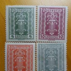 Sellos: AUSTRIA, OSTERREICH, 5-10-45-30 KRONENE AÑO 1922. NUEVOS. Lote 165378170