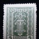 Sellos: AUSTRIA, OSTERREICH, 5 KRONEN, AÑO 1923.. Lote 165523502
