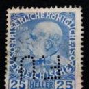 Sellos: AUSTRIA, OSTERREICH, 25 HELLER, FRANCISCO JOSE, AÑO 1908. Lote 165525714