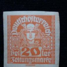 Sellos: AUSTRIA ALEMAN, DEUTSCH OSTERREICH, 20 HELLER, AÑO 1919. NUEVO.. Lote 165531198
