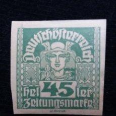 Sellos: AUSTRIA ALEMAN, DEUTSCH OSTERREICH, 45 HELLER, AÑO 1919. NUEVO.. Lote 165531626
