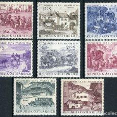 Sellos: AUSTRIA 1964 IVERT 993/1000 *** 15º CONGRESO UNIÓN POSTAL UNIVERSAL EN VIENA - PINTURA - PAISAJES. Lote 174181849