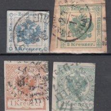 Sellos: AUSTRIA, TASAS PARA PERIÓDICOS, 1853-1890 YVERT Nº 1, 2, 8, 9, . Lote 176141955