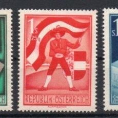 Sellos: AUSTRIA AÑO 1950 YV 788/90* 30 ANVº PLEBISCITO DE CARINTHIA - BANDERAS - ESCUDOS - URNAS. Lote 176889688