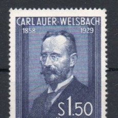 Sellos: AUSTRIA AÑO 1954 YV 840*** 25 ANIVº MUERTE DE CARL AUER VON WELSBACH - PERSONAJES - QUÍMICA. Lote 176892245