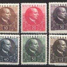 Sellos: AUSTRIA,1930 YVERT Nº 393 / 398, LUCHA CONTRA LAS ENFERMEDADES PULMONARES, PRESIDENTE WILHELM MIKLAS. Lote 178954800