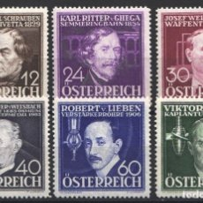 Sellos: AUSTRIA,1936 YVERT Nº 489 / 494 /*/, INVENTORES. . Lote 178954868