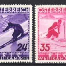 Sellos: AUSTRIA,1934 YVERT Nº 477 / 480 /*/, DEPORTES DE INVIERNO, ESQUÍ. Lote 178954997