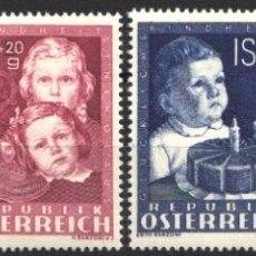 Sellos: AUSTRIA,1949 YVERT Nº 765 / 768 /**/ INFANCIA FELIZ / PAPÁ NOEL, CUMPLEAÑOS, NAVIDAD, SIN FIJASELLOS. Lote 178956512