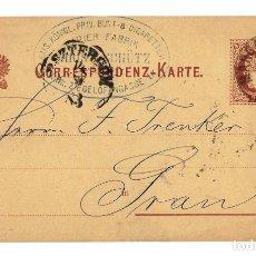 Sellos: AUSTRIA ENTERO POSTAL - CORRESPONDENZ KART - TARJETA - 2 KR. - CIRCULADA 1883 -MATASELLOS VIENA WIEN. Lote 179203722