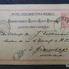 Sellos: ENTERO POSTAL DE AUSTRIA CIRCULADO AÑO 1892. Lote 183204348