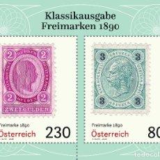 Sellos: AUSTRIA 2019 - FREIMARKEN 1890 MINIATURE SHEET MMH. Lote 183314693