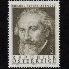 Sellos: AUSTRIA 1294** - AÑO 1974 - MUSICA - CENTENARIO DEL NACIMIENTO DEL COMPOSITOR EDMUND EYSLER. Lote 226166670