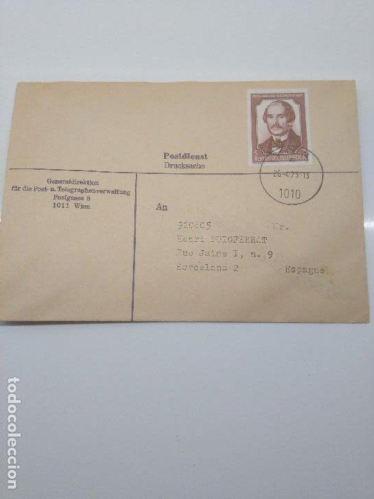 SOBRE CIRCULADO A BARCELONA 26-4-1973 WIEN AUGUSTE NEILREICH BOTANICO Y JURISTA CIENCIAS (Sellos - Extranjero - Europa - Austria)