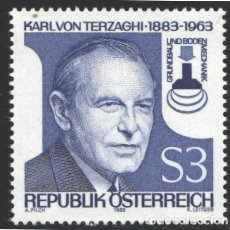 Sellos: AUSTRIA, 1983 YVERT Nº 1582 /**/, CENTENARIO DEL NACIMIENTO DE KARL VON TERZAGHI . Lote 199234493