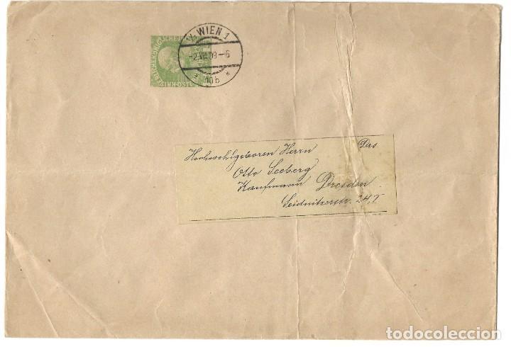 FAJA CIRCULADA AUSTRIA AÑO 1909 CON EMPERADOR FRANCISCO JOSÉ AÑO 1908 5 HELLER (Sellos - Extranjero - Europa - Austria)