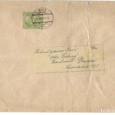 Sellos: FAJA CIRCULADA AUSTRIA AÑO 1909 CON EMPERADOR FRANCISCO JOSÉ AÑO 1908 5 HELLER. Lote 200041836
