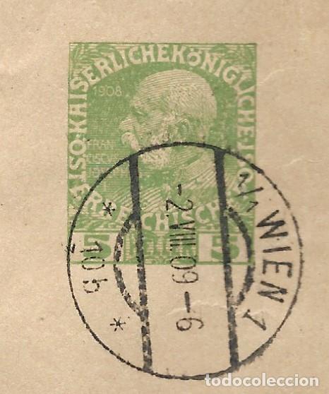 Sellos: FAJA CIRCULADA AUSTRIA AÑO 1909 CON EMPERADOR FRANCISCO JOSÉ AÑO 1908 5 HELLER - Foto 2 - 200041836