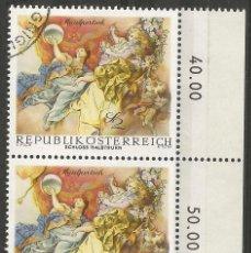 Sellos: AUSTRIA - CASTILLO HALBTHURN - 2 JUNTOS CON ADHESIVO, BORDE LATERAL CON VALOR Y MATASELLOS -. Lote 200360212