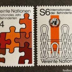 Sellos: NACIONES UNIDAS, (VIENA) AÑO INTERNACIONAL DE LAS PERSONAS DISCAPACITADAS MNH (FOTOGRAFÍA REAL). Lote 263223580