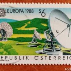 Sellos: AUSTRIA, EUROPA CEPT 1988 USADA (FOTOGRAFÍA REAL). Lote 213720016