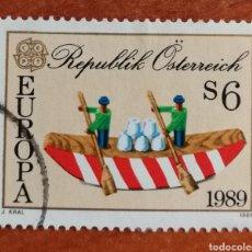 Sellos: AUSTRIA, EUROPA CEPT 1989 USADA (FOTOGRAFÍA REAL). Lote 213723626