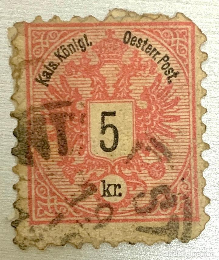 SELLO IMPERIO AUSTRIO HUNGARO 5 KR 1880 ROJO (Sellos - Extranjero - Europa - Austria)