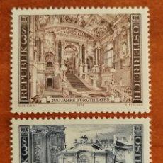 Sellos: AUSTRIA, N°1336/37 MNH, CASTILLO Y TEATRO DE VIENA 1976 (FOTOGRAFÍA REAL). Lote 218352263