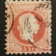 Sellos: AUSTRIA, 5KR.AÑO 1867 USADO (FOTOGRAFÍA REAL). Lote 220508612