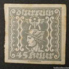 Sellos: AUSTRIA, 45 HELLER USADO (FOTOGRAFÍA REAL). Lote 220511325